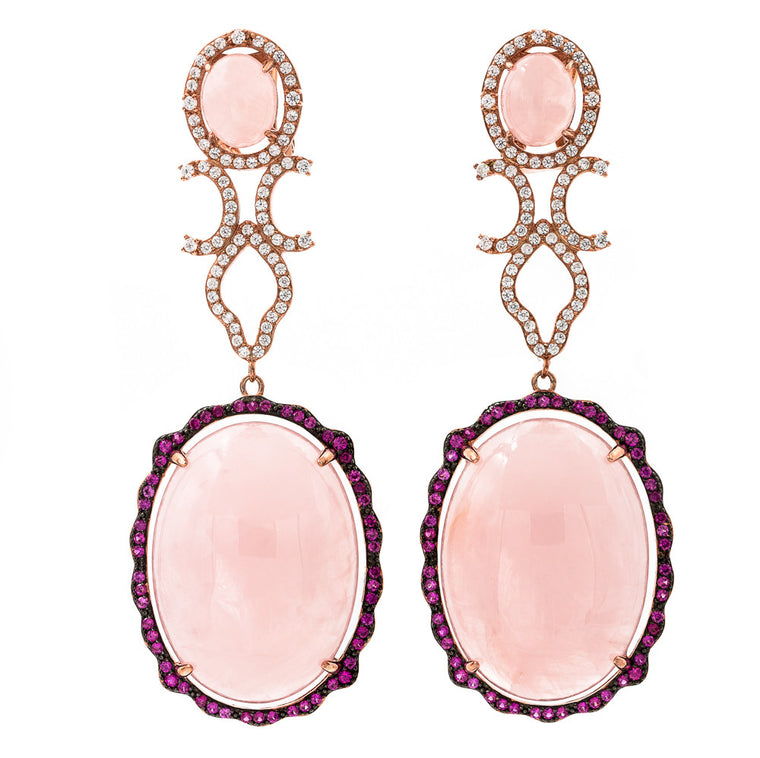 ER2169IR-R STERLING SILVER 925 ROSE GOLD PLATED FINISH ROSE QUARTZ FANCY DROP EARRINGS