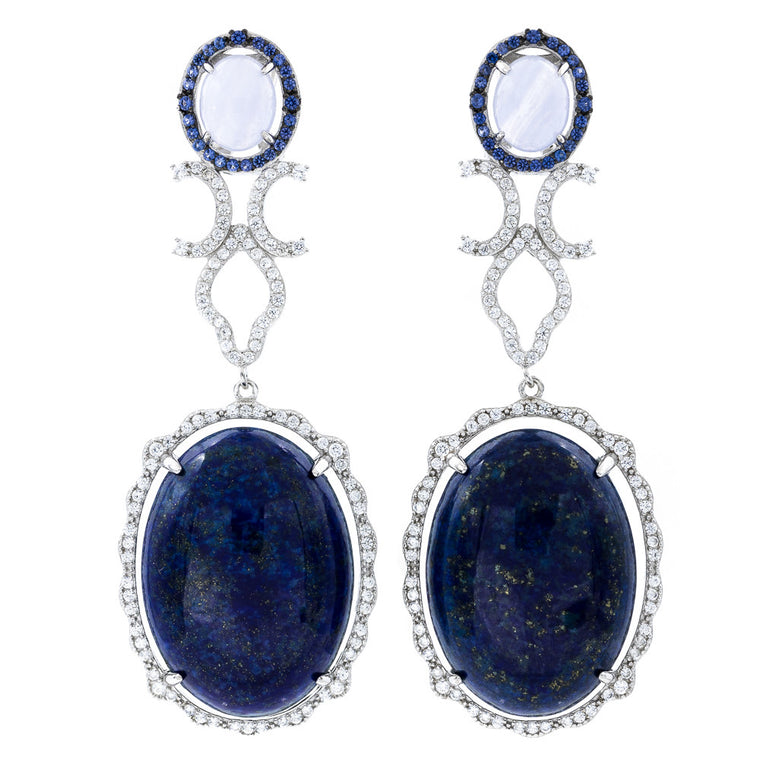 ER2169NT STERLING SILVER 925 RHODIUM PLATED FINISH BLUE LACE AGATE AND LAPIS LAZULI FANCY DROP EARRINGS