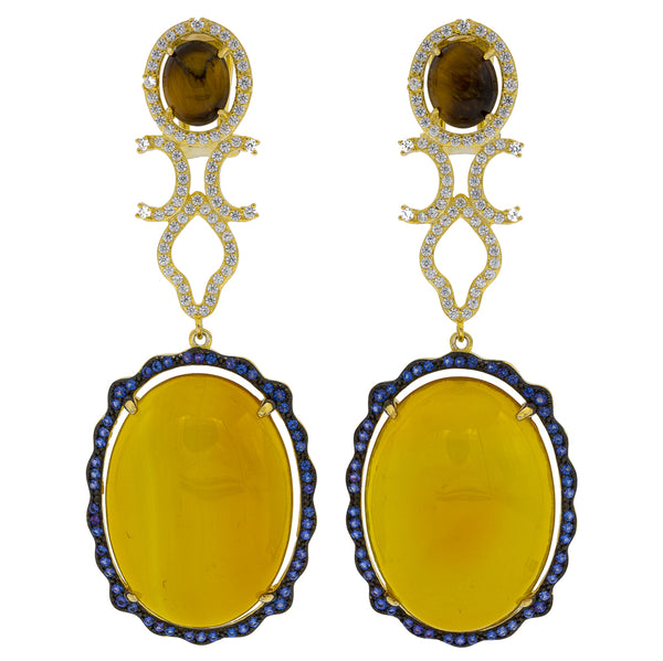 ER2169YN-G STERLING SILVER 925 ROSE GOLD PLATED YELLOW AGATE AND TIGER EYE DROP EARRINGS