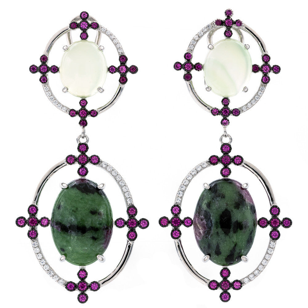 ER2171GR STERLING SILVER 925 RHODIUM PLATED FINISH AGATE AND EPIDOTE FANCY DROP EARRINGS