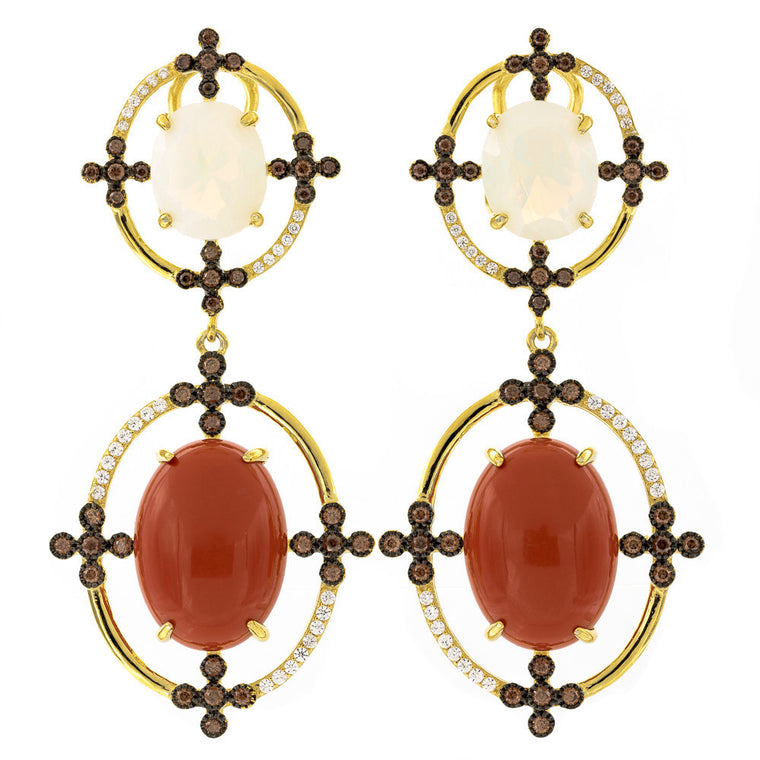 ER2171KQ-G STERLING SILVER 925 GOLD PLATED FINISH OPALINE AND SEA RED SHELL FANCY DROP EARRINGS