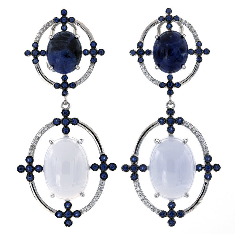 ER2171NT STERLING SILVER 925 RHODIUM PLATED FINISH SODALITE AND BLUE LACE AGATE FANCY DROP EARRINGS