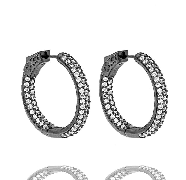 ER2174W-B STERLING SILVER 925 BLACK RHODIUM PLATED FINISH CLEAR COLOR CZ HOOPS 26MM