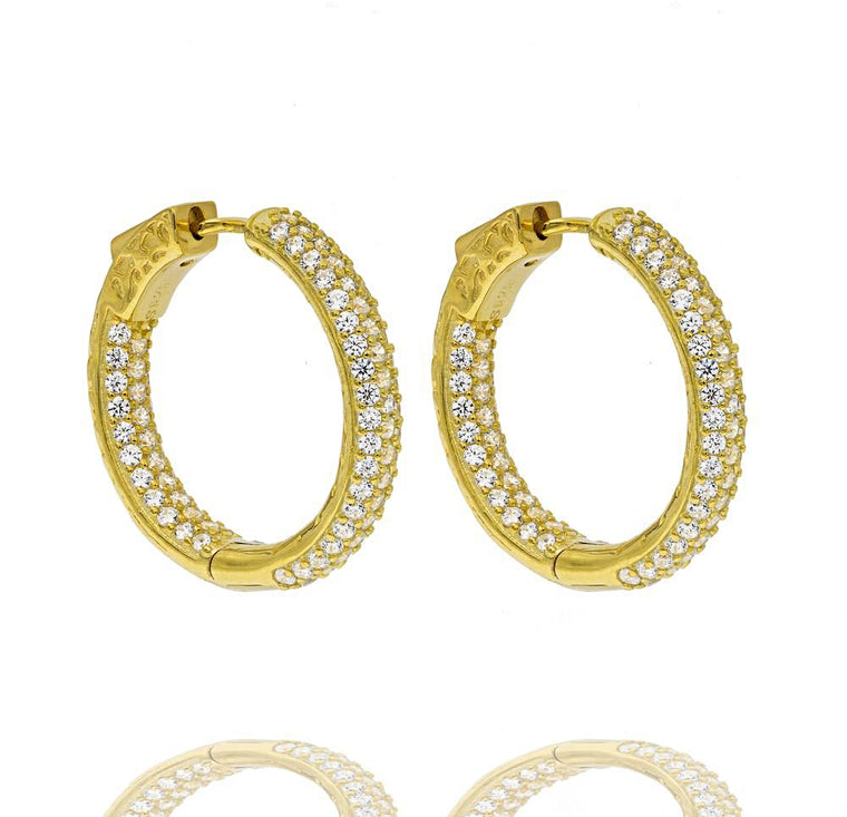 ER2174W-G STERLING SILVER 925 GOLD PLATED FINISH CLEAR COLOR CZ HOOPS 26MM
