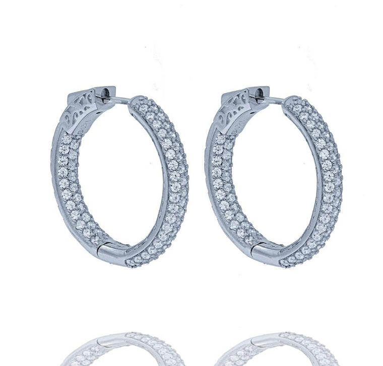 ER2174W STERLING SILVER 925 RHODIUM PLATED FINISH CLEAR COLOR CZ HOOPS 26MM