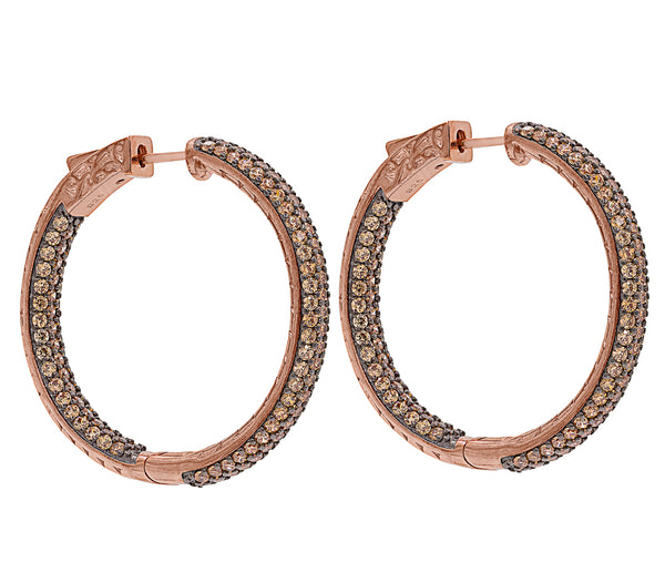 ER2175C-R STERLING SILVER 925 ROSE GOLD PLATED FINISH CHAMPAGNE CZ HOOP EARRINGS 36 MM