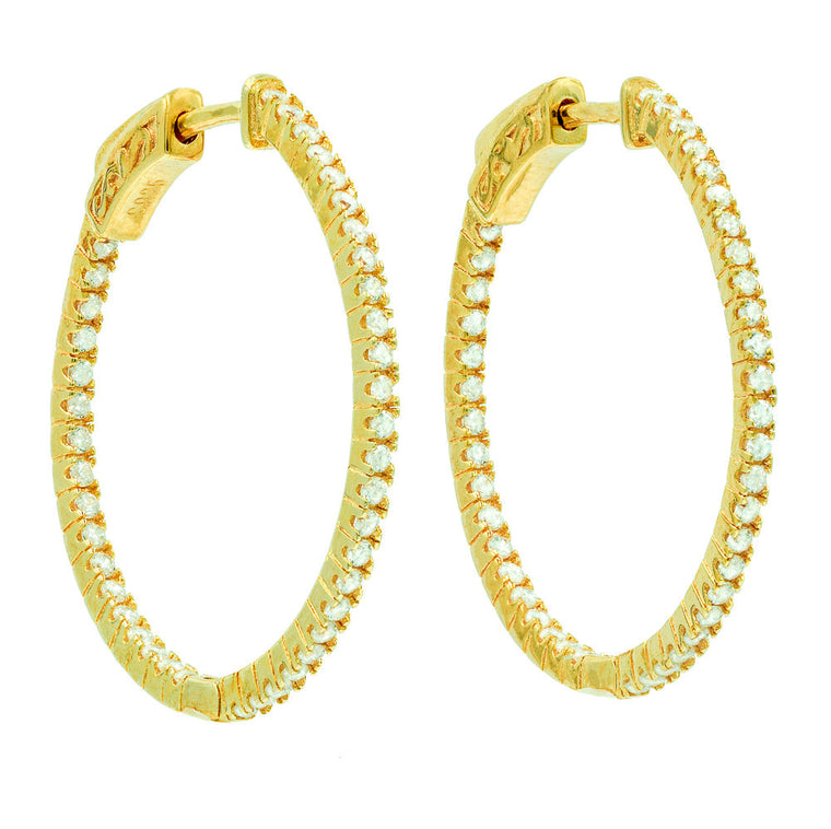 ER2182W-G STERLING SILVER 925 GOLD PLATED WHITE CZ HOOP EARRINGS 28 MM