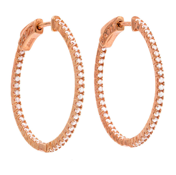 ER2182W-R STERLING SILVER 925 ROSE GOLD PLATED FINISH WHITE CZ HOOP EARRINGS 28 MM