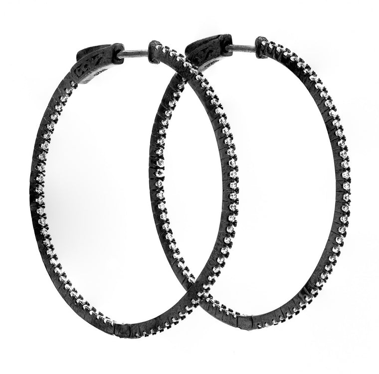 ER2183W-B STERLING SILVER 925 BLACK RHODIUM WHITE CZ HOOP EARRINGS 41 MM