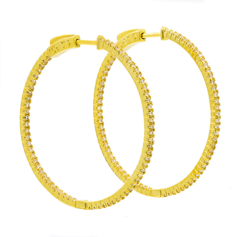 ER2183W-G STERLING SILVER 925 GOLD PLATED FINISH WHITE CZ HOOP EARRINGS 41 MM