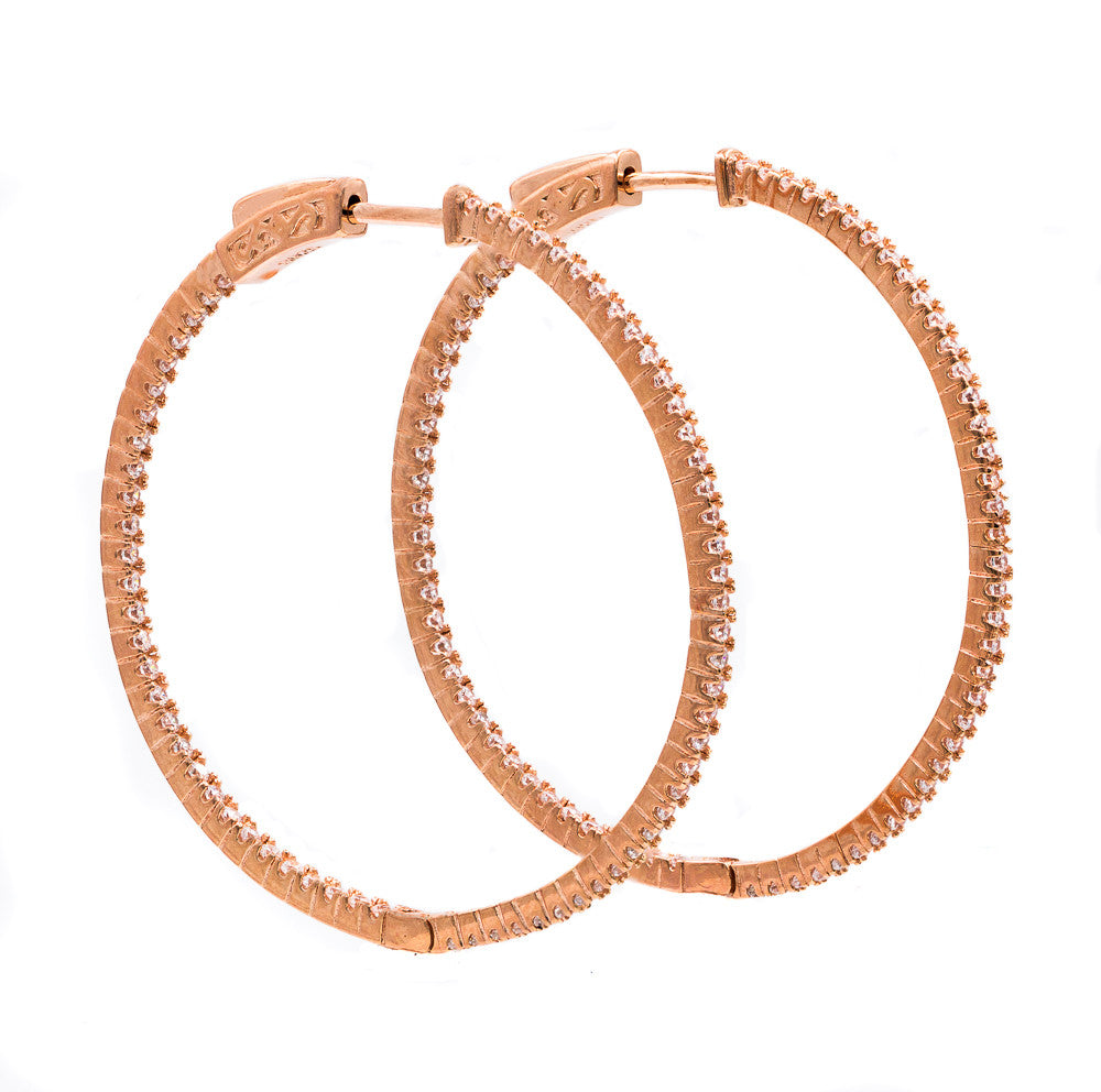 ER2183W-R STERLING SILVER 925 ROSE GOLD PLATED WHITE CZ HOOP EARRINGS 41 MM