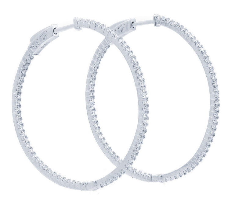 ER2183W STERLING SILVER 925 RHODIUM PLATED WHITE CZ HOOP EARRINGS 41 MM