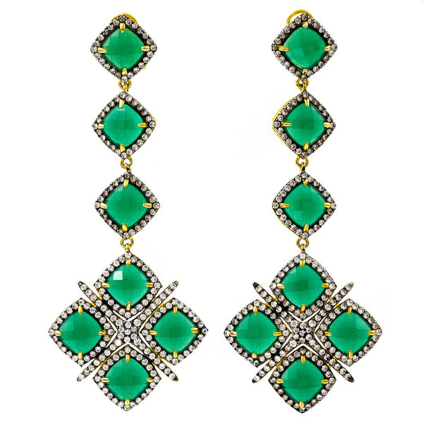 ER2201G-G STERLING SILVER 925 GOLD PLATED FINISH GREEN JADE FANCY DROP EARRINGS