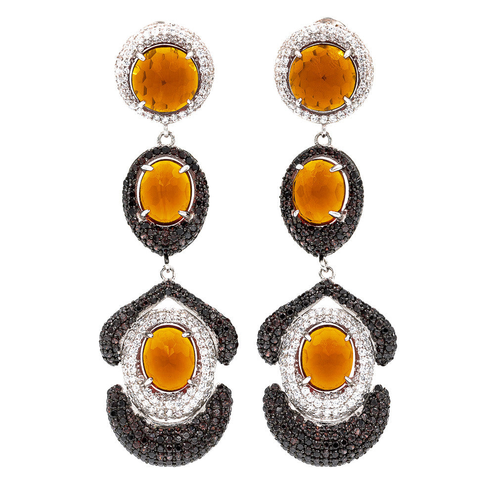 ER2202F STERLING SILVER 925 RHODIUM PLATED FACETED CITRINE CRYSTALS DROP EARRINGS
