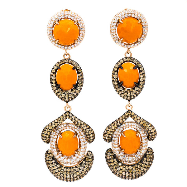 ER2202K-R STERLING SILVER 925 ROSE GOLD PLATED FACETED ORANGE CRYSTALS DROP EARRINGS