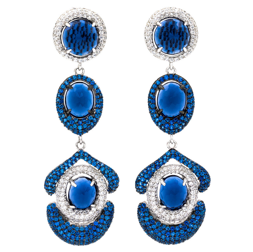 ER2202N STERLING SILVER 925 RHODIUM PLATED FACETED SAPPHIRE COLOR CRYSTALS DROP EARRINGS