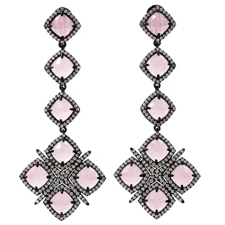 ER2201I-B STERLING SILVER 925 BLACK RHODIUM PLATED FINISH ROSE QUARTZ FANCY DROP EARRINGS