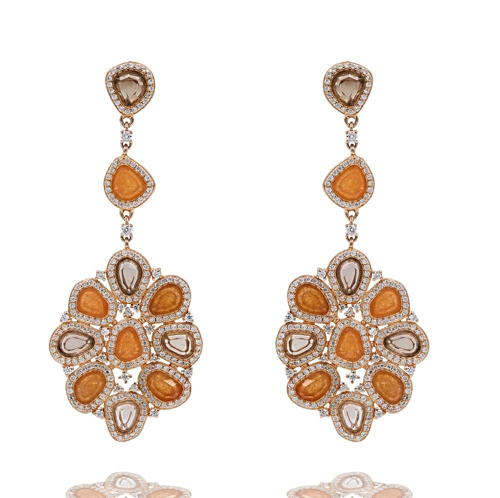 ER2213KS-R STERLING SILVER 925 ROSE GOLD PLATED AVENTURINE AND SMOKEY QUARTZ FANCY DROP EARRINGS