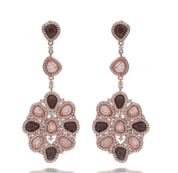 ER2213PI-R STERLING SILVER 925 ROSE GOLD PLATED AVENTURINE AND ROSE QUARTZ FANCY DROP EARRINGS