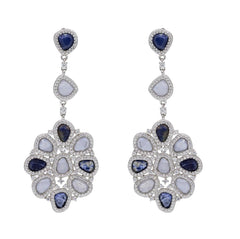 ER2213TN STERLING SILVER 925 RHODIUM PLATED FINISH BLUE LACE AGATE AND SODALITE FANCY DROP EARRINGS