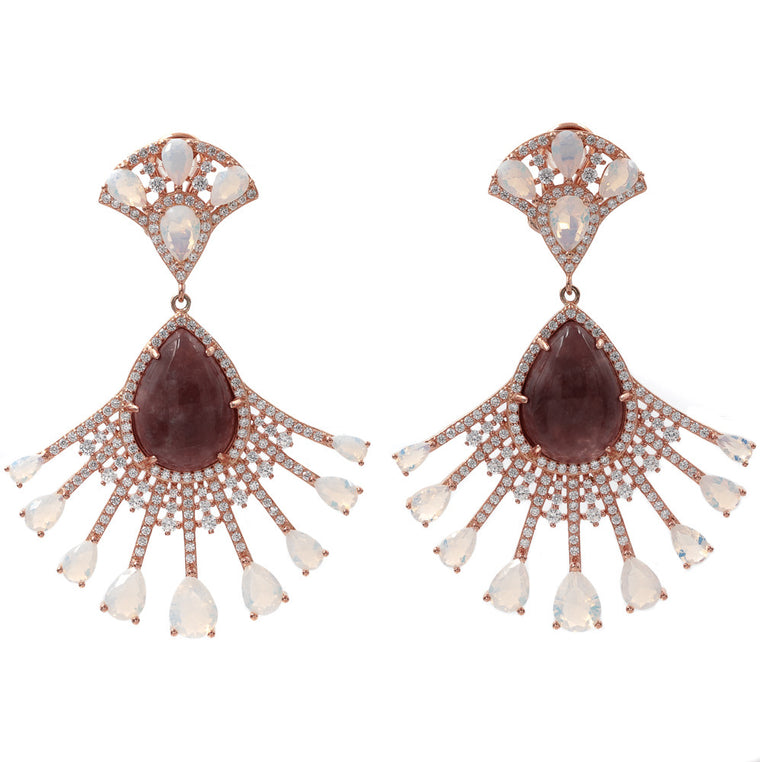 ER2218DN-B STERLING SILVER 925 ROSE GOLD PLATED FINISH BRONZITE AND OPALINE FANCY DROP EARRINGS