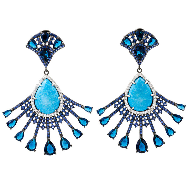 ER2218QF-R STERLING SILVER 925 BLACK RHODIUM PLATED FINISH TURQUOISE FANCY DROP EARRINGS
