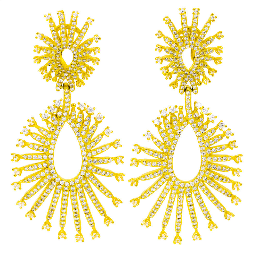 ER2219W-G STERLING SILVER 925 GOLD PLATED FINISH CLEAR CZ ELEGANT DROP EARRINGS