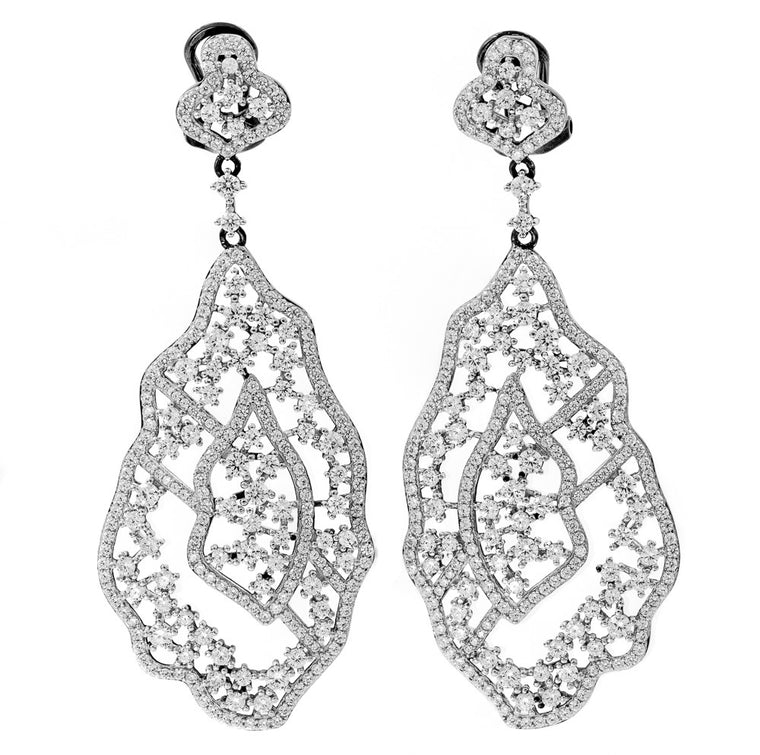 ER2220W-B STERLING SILVER 925 RHODIUM PLATED CLEAR COLOR CZ FANCY DROP EARRINGS