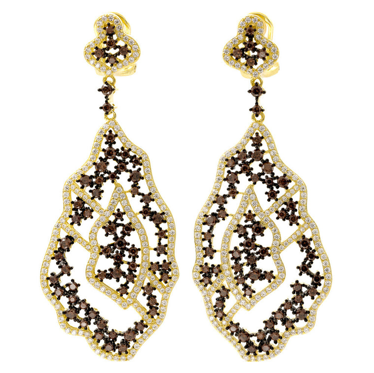 ER2220WF-G STERLING SILVER 925 GOLD PLATED CHOCOLATE COLOR CZ FANCY DROP EARRINGS