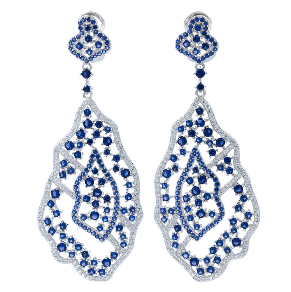 ER2220WN STERLING SILVER 925 RHODIUM PLATED SAPPHIRE COLOR CZ FANCY DROP EARRINGS
