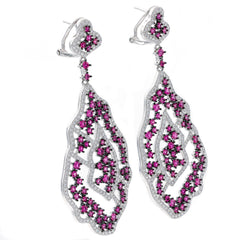 ER2220WR STERLING SILVER 925 RHODIUM PLATED RUBY COLOR CZ FANCY DROP EARRINGS