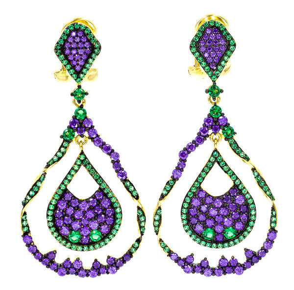 ER2221GP-G STERLING SILVER 925 GOLD PLATED FINISH PURPLE CZ ELEGANT DROP EARRINGS