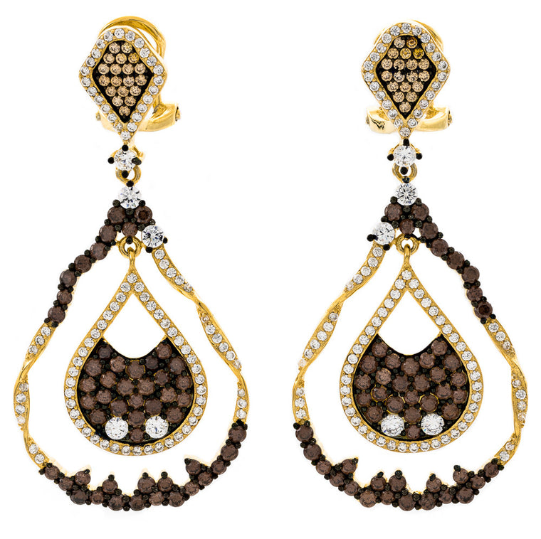 ER2221WF-G STERLING SILVER 925 GOLD PLATED FINISH CHOCOLATE COLOR CZ ELEGANT FANCY DROP EARRINGS