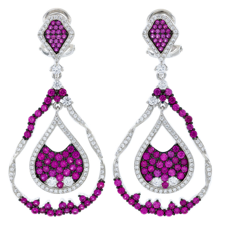 ER2221WR STERLING SILVER 925 RHODIUM PLATED FINISH RUBY COLOR CZ ELEGANT FANCY DROP EARRINGS