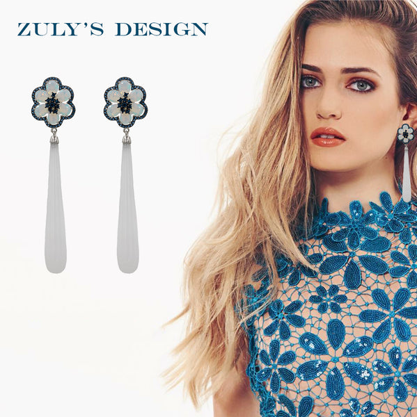 ER2223TQ STERLING SILVER 925 RHODIUM PLATED FINISH MOONSTONE AND WHITE AGATE FANCY DROP EARRINGS