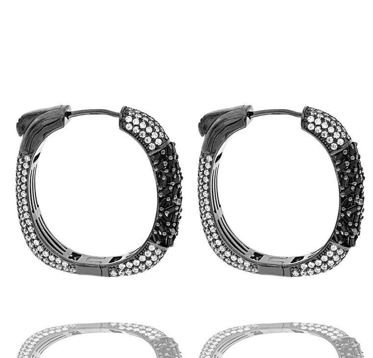 ER2224WB-B STERLING SILVER 925 BLACK RHODIUM PLATED FINISH BLACK BAGUETTE CZ HOOP EARRINGS 27 MM