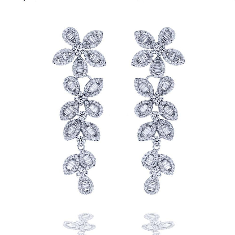 ER2280W STERLING SILVER 925 RHODIUM PLATED FINISH CLEAR BAGUETTE CZ DROP EARRINGS