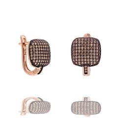 ER2288F-R STERLING SILVER 925 ROSE GOLD PLATED FINISH PAVE CZ HUGGIE EARRINGS 15MM