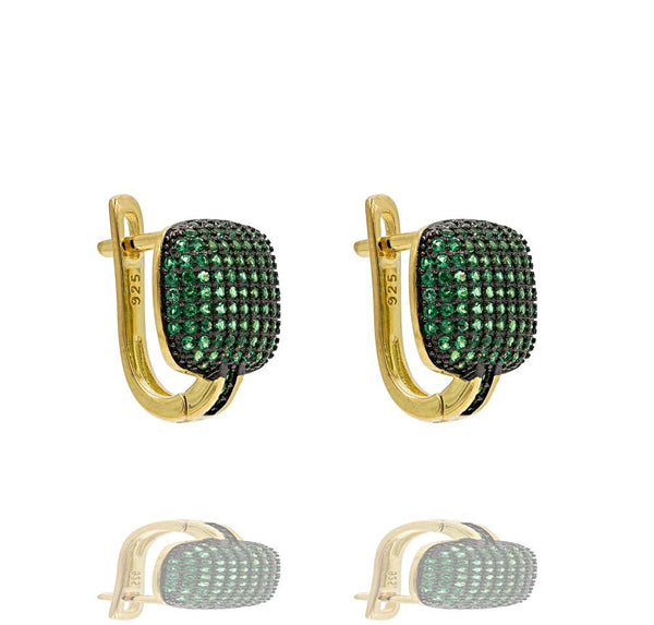 ER2288G-G STERLING SILVER 925 GOLD PLATED FINISH PAVE CZ HUGGIE EARRINGS 15MM