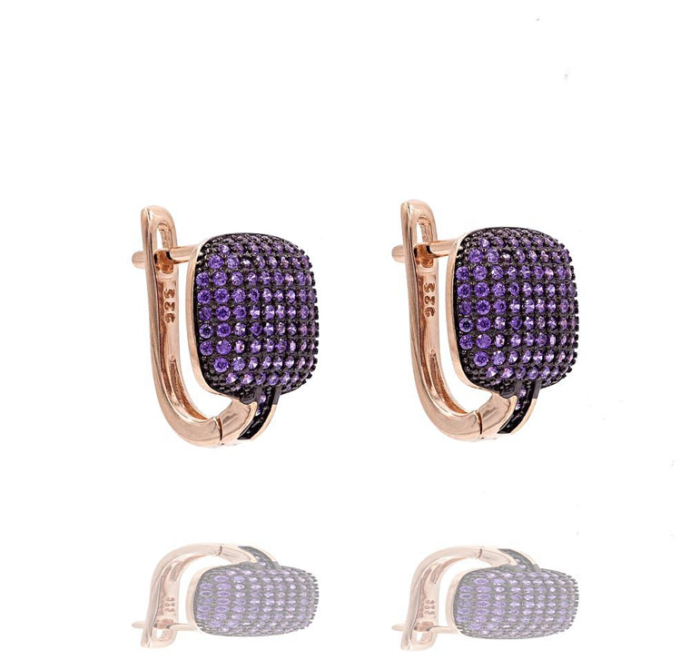 ER2288P-R STERLING SILVER 925 ROSE GOLD PLATED FINISH PAVE CZ HUGGIE EARRINGS 15MM