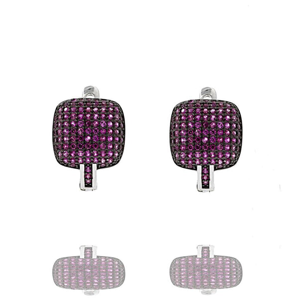 ER2288R STERLING SILVER 925 RHODIUM PLATED FINISH PAVE CZ HUGGIE EARRINGS 15MM