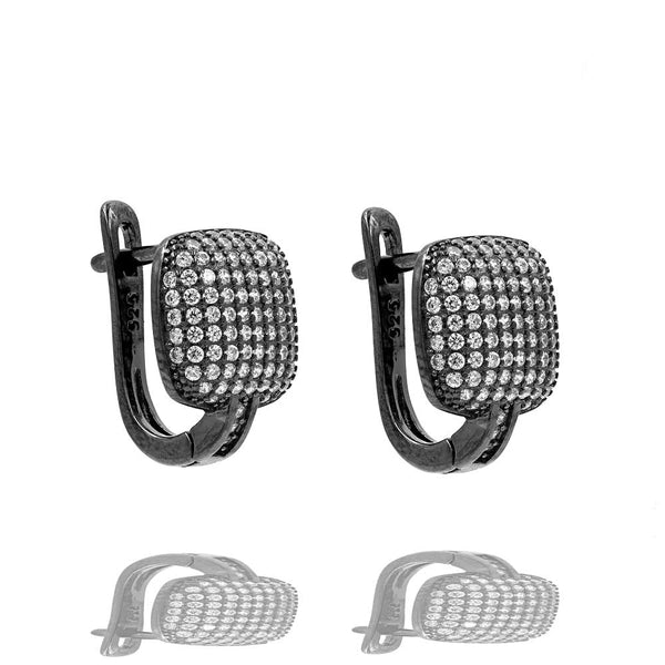ER2288W-B STERLING SILVER 925 BLACK RHODIUM PLATED FINISH PAVE CZ HUGGIE EARRINGS 15MM