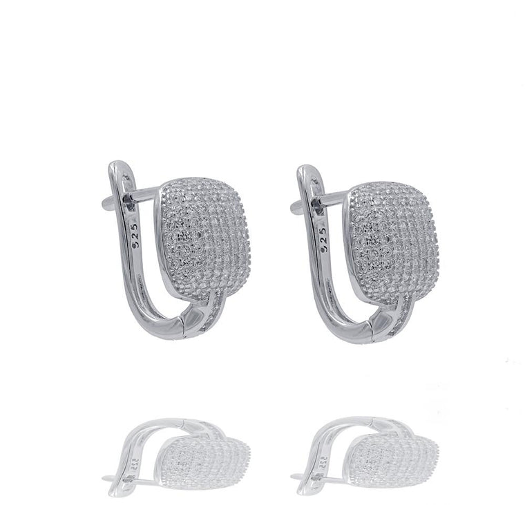 ER2288W STERLING SILVER 925 RHODIUM PLATED FINISH PAVE CZ HUGGIE EARRINGS 15MM