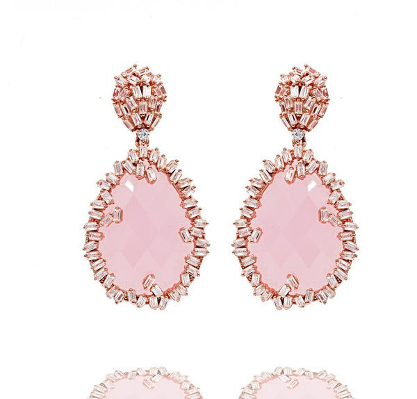 ER2331I-R STERLING SILVER 925 ROSE GOLD PLATED FINISH ROSE QUARTZ COLOR BAGUETTE DROP EARRINGS