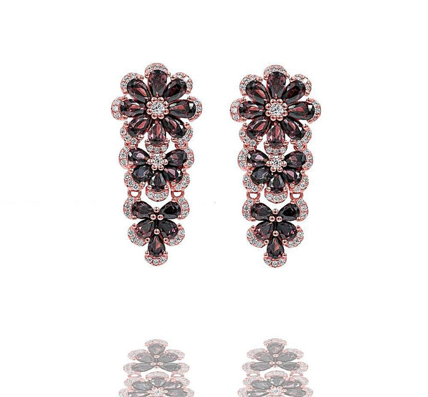 ER2379F-R STERLING SILVER 925 ROSE GOLD PLATED FINISH SMOKY QUARTZ COLOR CZ DROP EARRINGS