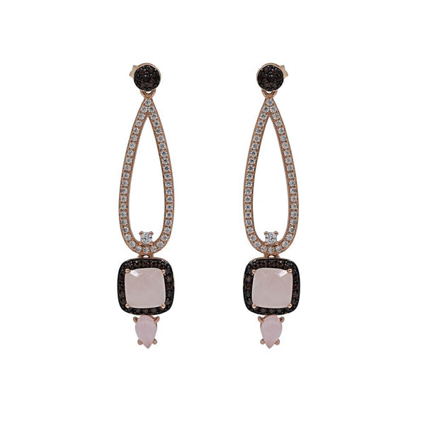 ERA2152IF-R STERLING SILVER 925 ROSE GOLD PLATED ROSE QUARTZ  EARRINGS