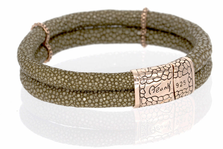 ZDB210-MOC  STINGRAY LEATHER DUPLEX BRACELET WITH MAGNETIC LOCK