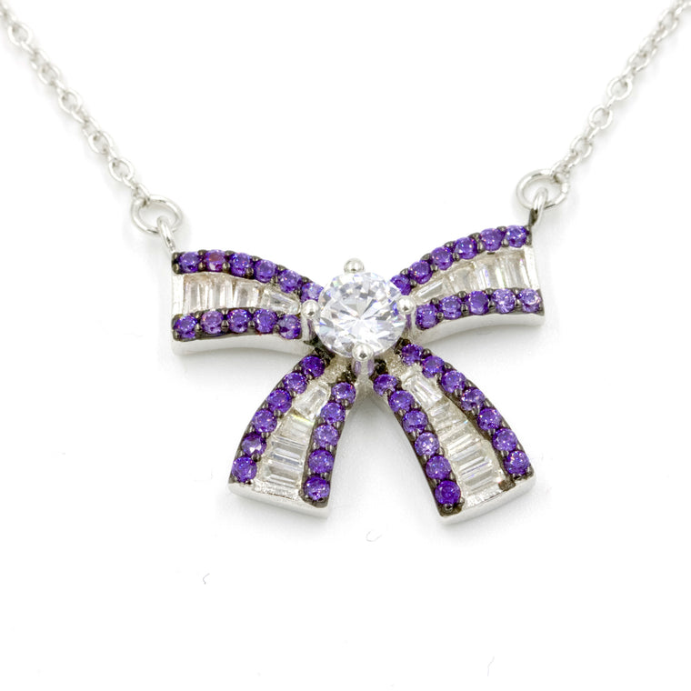 ZDN0648-A STERLING SILVER 925 RHODIUM PLATED FINISH BAGUETTE BOW DESIGN NECKLACE