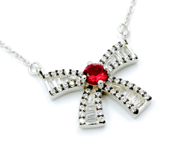 ZDN0648-R STERLING SILVER 925 RHODIUM PLATED FINISH BAGUETTE BOW DESIGN NECKLACE