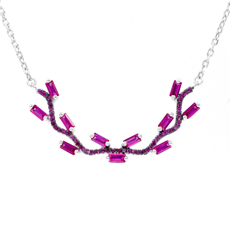 NC2072R STERLING SILVER 925 RHODIUM PLATED RUBY COLOR CZ  NECKLACE 16